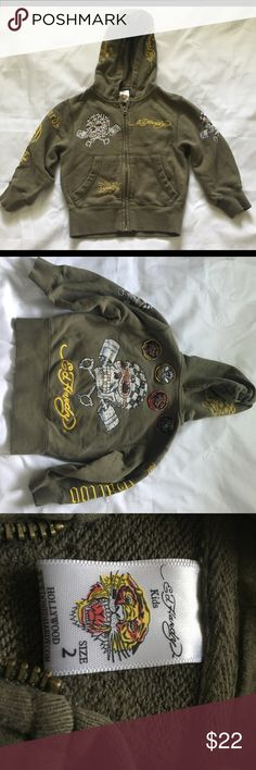 Ed Hardy Kids Hoodie Kids Size 2 Green (Sage) Applique' and Embroidery.  Gently Used. Ed Hardy Jackets & Coats
