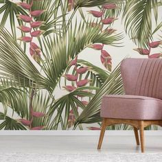 A verdant tropical wallpaper, with Bird of Paradise flowers draping over elegant palm leaves. The Block Shop stocks a curated range of wallpaper perfect to turn your house into a home. Palm Leaf Wallpaper, Tropical Wallpaper, Modern Wallpaper, Of Wallpaper, Beautiful Wallpaper, Tropical Interior, Tropical Decor, Tropical Colors, Tropical Pool