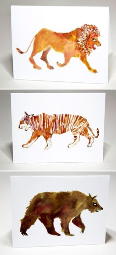 Happy Menocal — LIONS & TIGERS & BEARS NOTECARDS