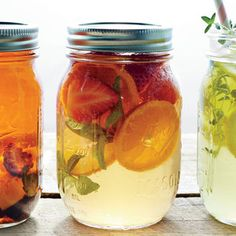 Fruit adds sweetness to this refreshing drink. If you wish, substitute raspberries for the strawberries, or drop in a sprig of lemon verbena to boost the aromatic citrus.