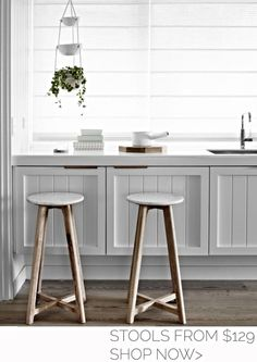 Scandi-inspired timber and marble furniture designed in Melbourne - The Interiors Addict Cheap Bar Stools, Cool Bar Stools, Timber Bar Stools, Rustic Stools, Wooden Bar Stools, Fur Stools, Smart Kitchen, Kitchen Tips, Big Kitchen