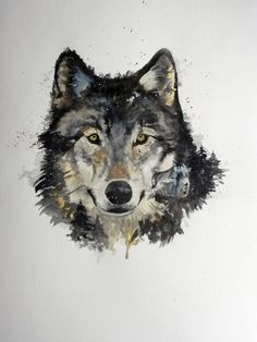 Female wolf in watercolor. She looks after her cubs who are hidden in the painting.
