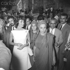 Jackie Kennedy with Greek Theater Actresses  With   Prince and Princess Radziwill, her sister and brother-in-law, are accompanying the First Lady.Date.June 08, 1961.♛❤❤❤♛  http://en.wikipedia.org/wiki/Jacqueline_Kennedy_Onassis   http://en.wikipedia.org/wiki/Lee_Radziwill