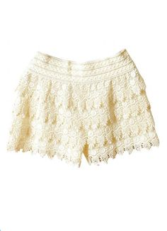 Scallop Crochet Lace Shorts - Ivory or Coral