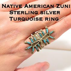 Vintage Native American Zuni Turquoise Ring This is an Amazing Rare Large Vintage Native American Zuni Sterling Silver Turquoise Needle Point Ring. Size 8.5. No marks but tested & confirmed 925 Silver. The ring is 39.7mm wide at the widest point & 3.0mm at the skinniest point. Weighs 4.98 grams. This ring is in great vintage condition & has not been cleaned due to age. If you collect vintage Sterling silver jewelry, this is the ring for you! Thanks for looking! Please make REASONABLE offer…