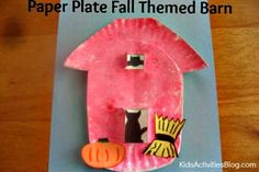 Two paper plates, some paint and construction paper! Voila! You have a barn. #preschool #ece JDaniel4's Mom for Kid Activities Blog.