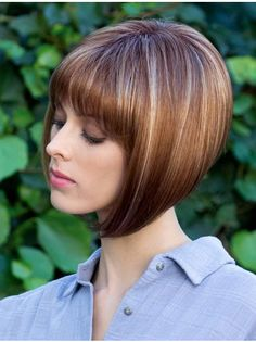 These medium straight balayage hair really are fab! Cute Bob Haircuts, Asymmetrical Bob Haircuts, Trendy Haircuts, Brunette Bob Haircut, Haircut Bob, Rene Of Paris Wigs, Wilshire Wigs, Monofilament Wigs, Corte Bob