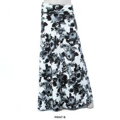 Plus Size Fold Over Maxi-Skirt - Assorted Styles  Print B: Black & White Floral