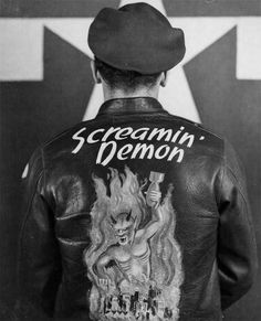 """""""Leather Jacket worn by crew members of the Boeing B-17 Flying Fortress """"Screamin' Demon"""" of the 401st Bomb Group stationed at an 8th Air Force Base in England, 2 April 1945"""""""