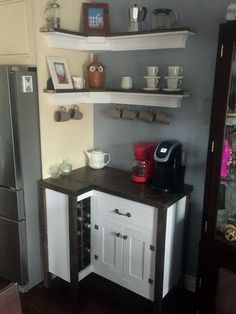21 diy coffee bar cabinet ideas for the perfect cup 00006 Small Apartment Decorating, Interior, Kitchen Decor Styles, Coffee Bar Home, Kitchen Decor, Home Remodeling, Bars For Home, Diy Coffee Bar, Home Diy