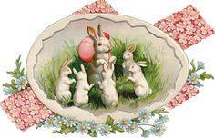 Glanzbilder -Easter- Victorian Die Cut - Victorian Scrap - Tube Victorienne - Glansbilleder - Plaatjes : Osterhase - Easter bunny - lapin de Pâques