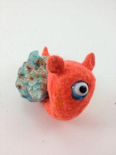 Snail Cyclops w/ glitter shell ears orange by GlazyDaysandNights,