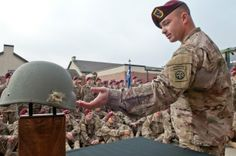 """""""A paratrooper with the Brigade Combat Team, Airborne Division at Fort Bragg, N., was recently reunited with the helmet that saved his life. 82nd Airborne Division, Staff Sergeant, Fort Bragg, Paratrooper, All Smiles, Usmc, Wwii, Helmet, United States"""