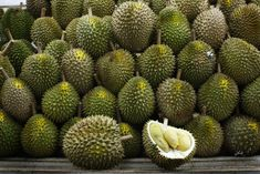 White flesh durian fruit, another premium cultivar from Penang, Malaysia. ** Can't wait to have my 1st taste of durian. #Durian