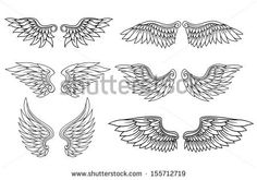 Set of eagle or angel wings for heraldry and tattoo design. Jpeg (bitmap) version also available in gallery - stock vector
