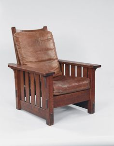 Gustav Stickley (American, 1858-1942); United Crafts (1901-1903). Armchair (no. 2342), 1901. Eastwood, New York. Oak and leather. Collection of Crab Tree Farm.