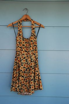 1990s halter sunflower dress.