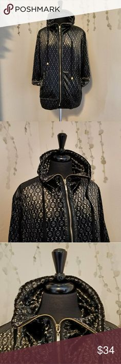 MIRROR IMAGE Velour Track Jacket XL RN: 93771 Super luxe velvet jacket with faux leather trim along the zipper and shoulders.  Black and gold damask print all over including the back.  Preowned with no flaws. Size XL Mirror Image Jackets & Coats