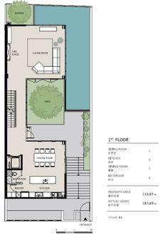 Cha design: [案例]The House Narrow House Plans, Small House Floor Plans, Dream House Plans, Modern House Plans, Sims House Design, Small House Design, House Layout Plans, House Layouts, Plantas Duplex