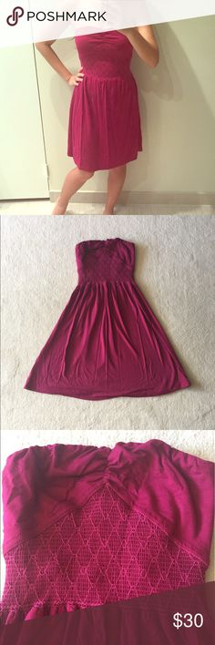 Cranberry strapless dress Cranberry strapless dress. Gently used in good condition. No trades. Please ask all questions before purchasing and use the offer button, thanks! Ecote Dresses Strapless