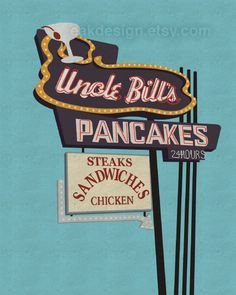 Uncle Bill's Pancakes in South City, St. Louis. An after-bar go to! From eakdesign.etsy.com