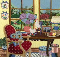 """Sandra Gilmore """"La Vue"""" needlepoint. Stitch guide by Tony Minieri. Stitched by Ginger Brennecke."""