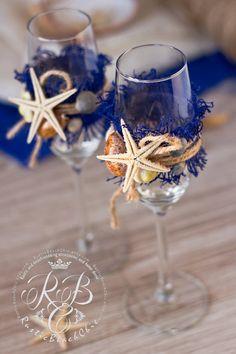 Nautical BEACH Wedding champagne glasses with от RusticBeachChic