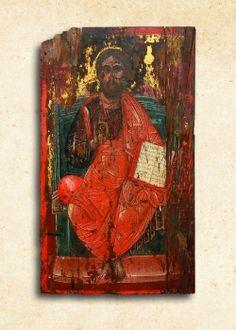 Ὁ Παντοκράτωρ, 17ος αἰ., Ἐνορία Μοχοῦ Russian Icons, Greek, Painting, Art, Art Background, Greek Language, Painting Art, Kunst, Paintings