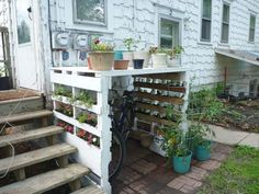 I took the pallet garden idea and built myself a bike rack! The plants are much bigger now 🙂 I took the pallet garden idea and built myself a bike rack! The plants are much bigger now 🙂 Bike Storage Backyard, Bicycle Storage, Bike Storage Cover, Bike Cover, Outdoor Storage, Palette Garden, Garden Ideas To Make, Vertical Pallet Garden, Garden Pallet