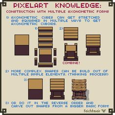 A little tutorial on how to use axonometric elements to construct more complex objects out of them. Construction with multiple axonometric forms How To Pixel Art, Cool Pixel Art, Cool Art, Game Design, 8bit Art, Pixel Art Games, Animation Tutorial, Art Tips, Drawing Tips