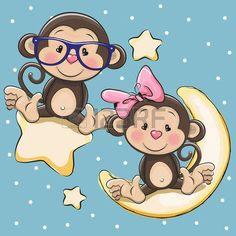 baby monkey: Valentine card with Lovers Monkeys on a moon and star Illustration Monkey Drawing, Monkey Art, Baby Drawing, Cute Monkey, Cute Animal Clipart, Kids Cartoon Characters, Animal Cutouts, Monkey Tattoos, Cartoon Monkey