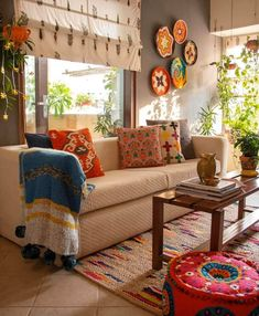 indian home decor .Festival of love.homedecor ideas for diwali. Indian Living Rooms, Colourful Living Room, Living Room Tv, Wall Mirrors For Living Room, Curtain Ideas For Living Room, Ethnic Living Room, Indian Room Decor, Ethnic Home Decor, India Home Decor