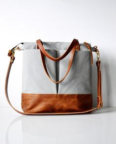 Waxed canvas tote bag Backpack Leather work bag Backpack Tote Bag Crossbody bag - Light Grey waxed canvas and toffee leather Leather Work Bag, Tan Leather, Leather Bags, Canvas Leather, Fall Handbags, Leather Handbags, Diaper Bag Backpack, Unisex, Waxed Canvas