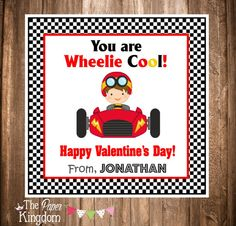 Printable Valentine's Day Gift Tags Race Car by thepaperkingdom