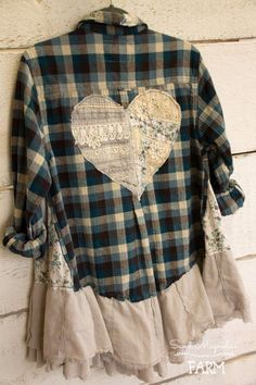 Dec 2018 - Farm Girl Fancies Upcycled Flannel Shirt by: Sweet Magnolias Farm ~ tunic jacket ~ BOHO top ~OOAK ~ vintage lace Heart back ~ Country Chic Clothing ~ Now in our Etsy Shop Shirt Refashion, Diy Shirt, Diy Clothing, Sewing Clothes, Cowgirl Clothing, Cowgirl Fashion, Country Chic Outfits, Umgestaltete Shirts, Denim Crafts