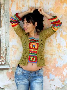 M Colorful crochet boho top blouse hippie ethnic by jamfashion