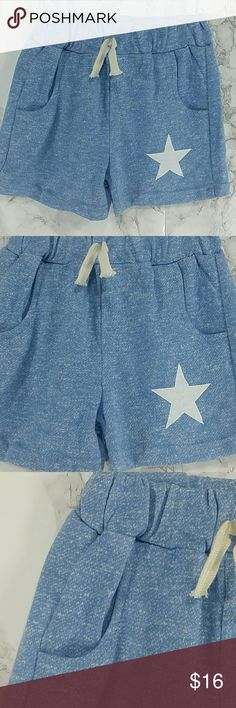 Heather Blue Star Shorts . Kids Adorable Heather gray shorts with a white star.  Have pockets Pull up style. . This item is brand new and never used. Bottoms Shorts