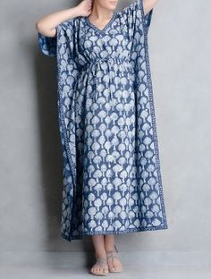 f1b21e2064d Indigo Natural Dyed Dabu-Printed Tie-Up Waist Cotton Kaftan