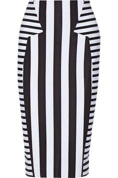 Cushnie et Ochs|Striped stretch-neoprene pencil skirt|NET-A-PORTER.COM