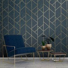 wallpaper living room I Love Wallpaper Milan Geo Metallic Wallpaper Navy Gold - Wallpaper from I Love Wallpaper UK 20 per roll Metallic Wallpaper, Art Deco Wallpaper, Art Deco Interior, Geo Wallpaper, Modern Wallpaper, Interior Design, Love Wallpaper, Interior Deco, Wallpaper Uk