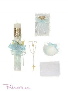 Blue Baptism Candle Set