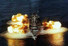 "16"" guns blasting from a Iowa class Battleship"