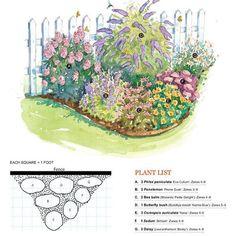 Butterfly Garden: A (3) Phlox Paniculata U0027Eva Culumu0027 Zones 4 8; B (1)  Penstemon U0027Prairie Dusku0027 Zones 3 8; C (1) Bee Balm Monarda U0027Petite Delightu0027  Zones 4 8; ...