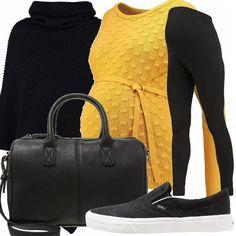 Outfit premaman composto da leggings neri abbinati ad un maglioncino giallo che dà un tocco di colore, sneakers basse senza lacci, borsa a mano e per finire una mantella.
