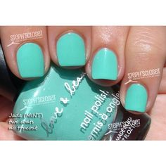 Love and Beauty Mint Nail Polish ❤ liked on Polyvore featuring beauty products, nail care, nail polish, nails, makeup, beauty and unhas
