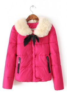 -- Rose Fur Bow Round Neck Polyester Padded Coat