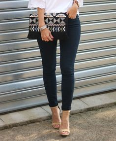 Fall Style | Embroidered clutch, bell sleeve top, skinny denim, suede heels.