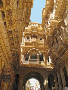 Ancient city streets of Jaisalmer in Rajasthan, India