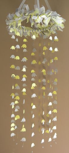 Card Stock Elephant Mobile in Yellow and Grey, Crib Mobile, Baby Mobile, Nursery Decor on Etsy, $42.00