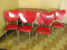 1950's Red Dinette Set Double Heart Chairs